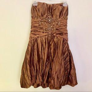 Sue Wong designer strapless cocktail dress